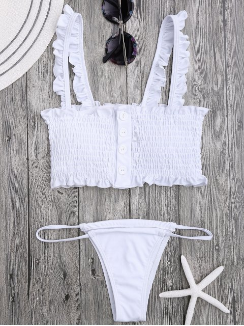 women Single-Breasted Smocked Ruffles Top with Briefs - WHITE M Mobile