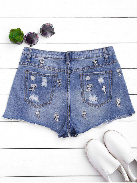 Shorts en denim brodé brodé par chiot - Denim Bleu XL Mobile