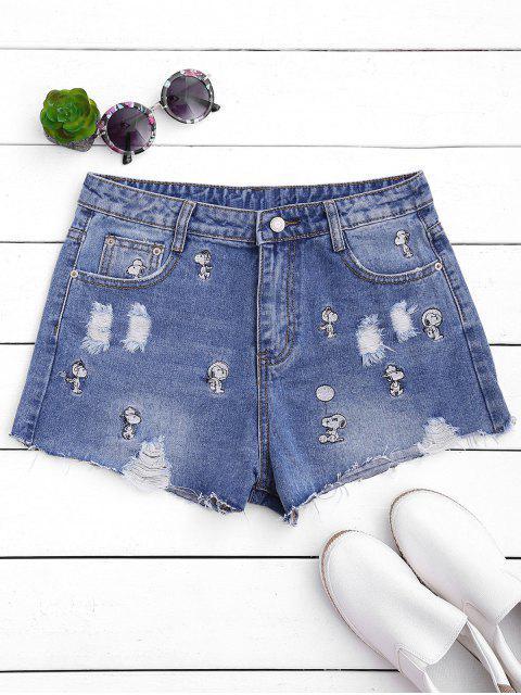 Puppy bordado destruido Denim Shorts - Denim Blue M Mobile