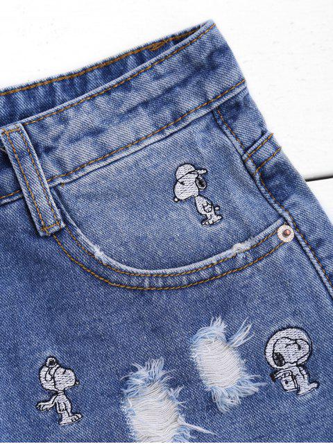 Shorts en denim brodé brodé par chiot - Denim Bleu M Mobile