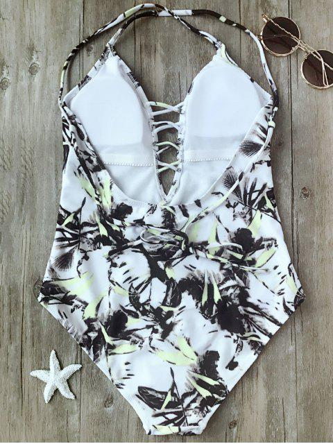 new Printed Crisscross Plunge One Piece Swimsuit - WHITE L Mobile
