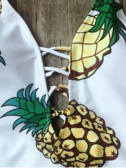 shop Shaping Pineapple Plunge One Piece Swimsuit - WHITE M Mobile