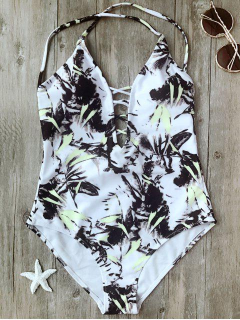 latest Printed Crisscross Plunge One Piece Swimsuit - WHITE XL Mobile
