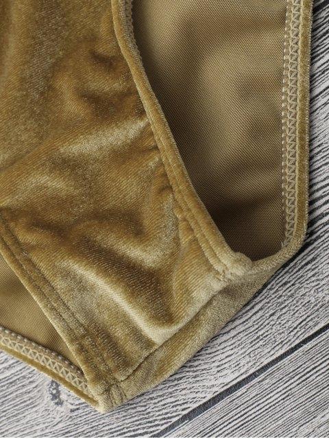 shop Velvet Padded Bralette Bikini Set - BROWN L Mobile