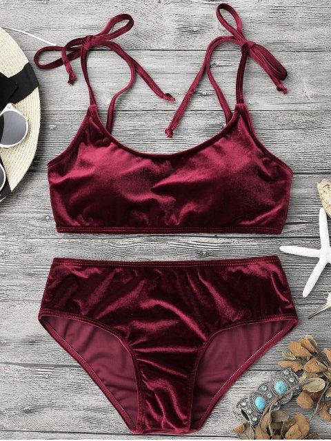 trendy Velvet Padded Bralette Bikini Set - BURGUNDY L Mobile