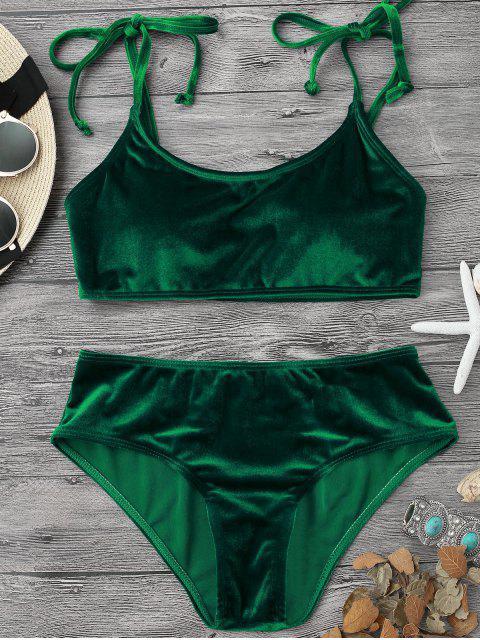 fancy Velvet Padded Bralette Bikini Set - GREEN L Mobile