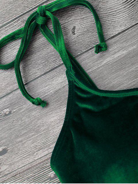 sale Velvet Padded Bralette Bikini Set - GREEN S Mobile