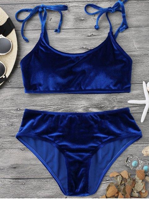 affordable Velvet Padded Bralette Bikini Set - SAPPHIRE BLUE L Mobile