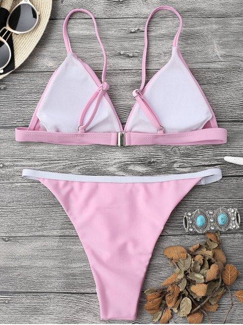 women's Soft Pad String Bikini Top and Bottoms - PINK M Mobile
