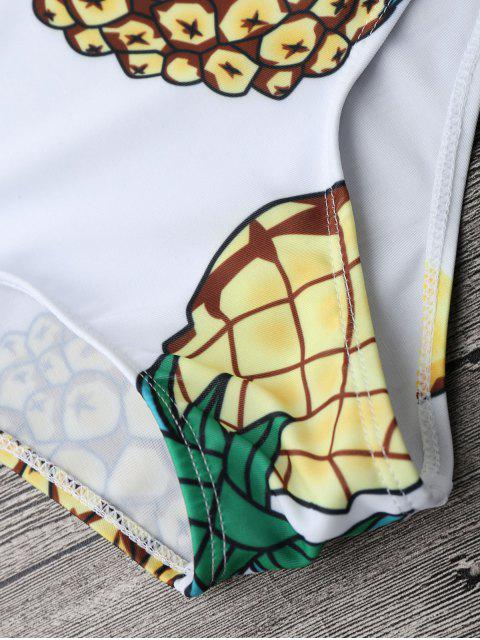 latest Pineapple Rashguard One Piece Swimsuit - WHITE S Mobile
