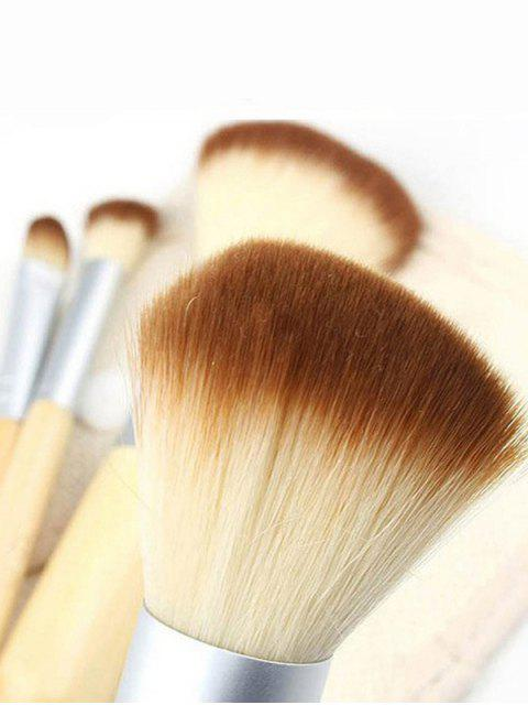 new 4Pcs Bamboo Facial Makeup Brushes Kit with Bag - WOOD  Mobile