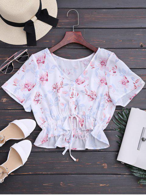 Haut court plissé en mousseline de soie imprimé fleur - Floral 2XL Mobile