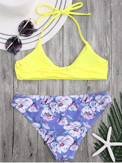 affordable Halter Bra with Floral Swim Bottoms - YELLOW M Mobile