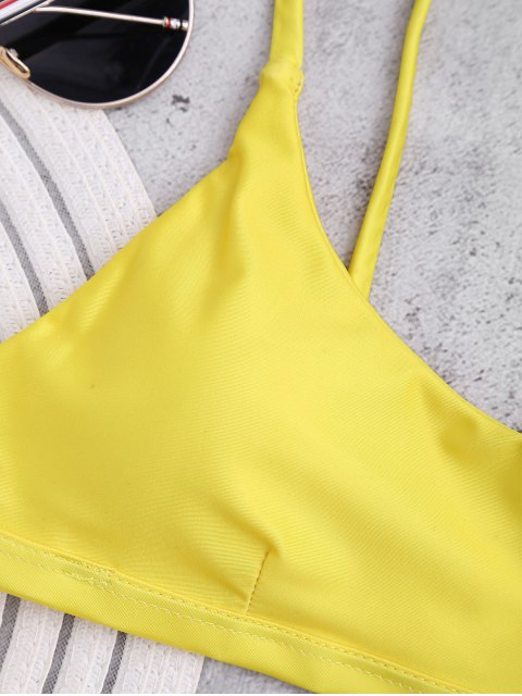 ladies Padded Adjusted Cami Thong Bikini - YELLOW L Mobile