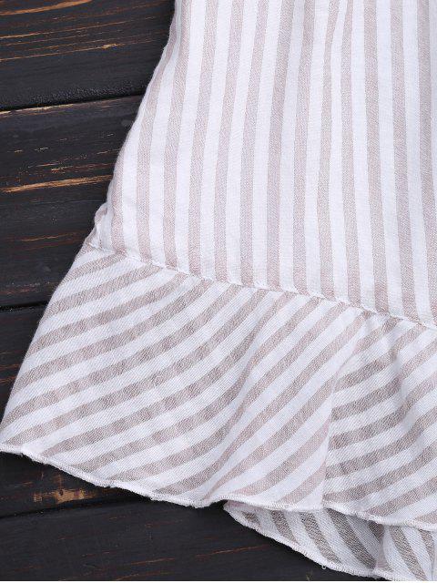 latest Stripes Ruffles Bowknot Romper - STRIPE S Mobile