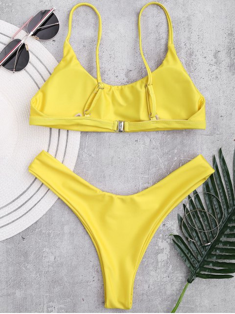 chic Padded Adjusted Cami Thong Bikini - YELLOW S Mobile