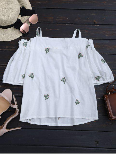 chic Cacti Embroidered Ruffle Hem Cami Blouse - WHITE ONE SIZE Mobile