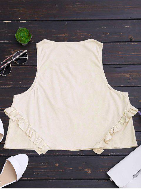 shop Floral Patched Ruffle Hem Tank Top - BEIGE L Mobile
