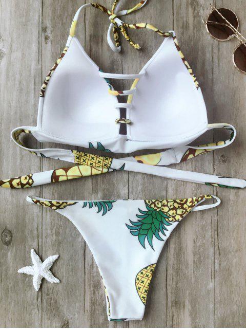 fancy Fuller Bust Pineapple Molded Bikini Set - WHITE XL Mobile