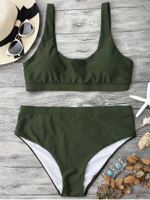 new Midi Bralette Scoop Bikini Set - GREEN S Mobile