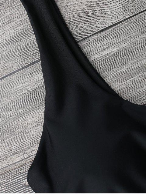 hot Midi Bralette Scoop Bikini Set - BLACK L Mobile