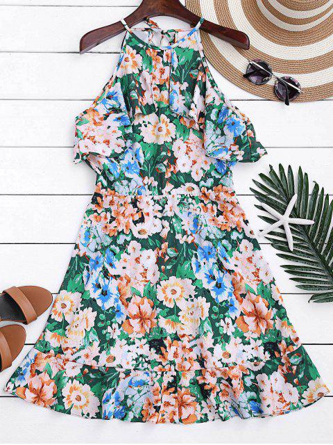 hot High Neck Ruffles Floral A-Line Dress - FLORAL M Mobile