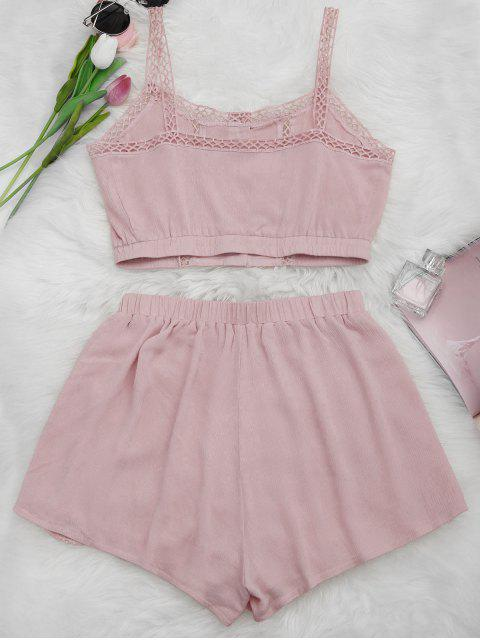 women Button Up Openwork Top and Shorts Suit - PINK S Mobile