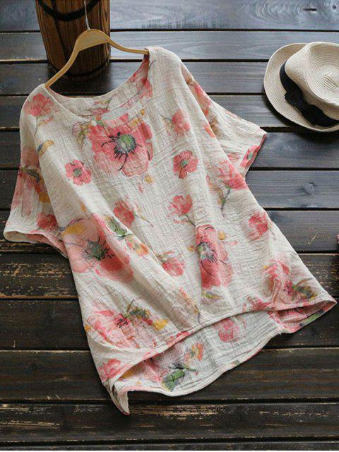 womens Round Collar Floral Print Blouse - PINK ONE SIZE Mobile