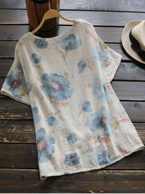 women Round Collar Floral Print Blouse - LIGHT BLUE ONE SIZE Mobile