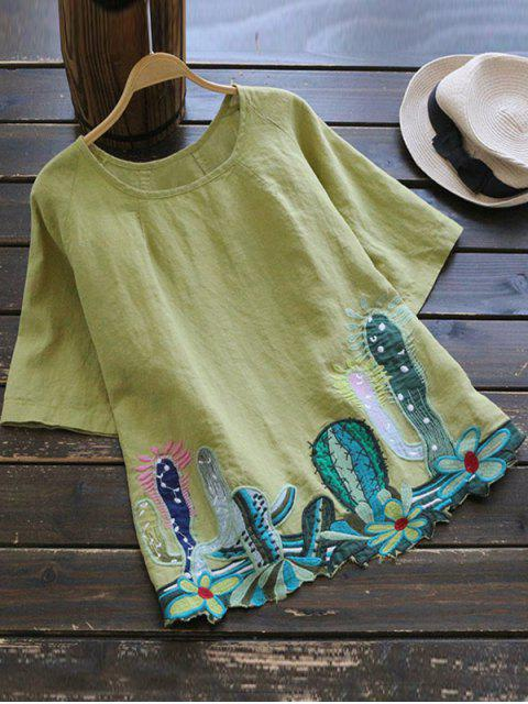 sale Round Collar Cacti Embroidered Blouse - YELLOW GREEN ONE SIZE Mobile
