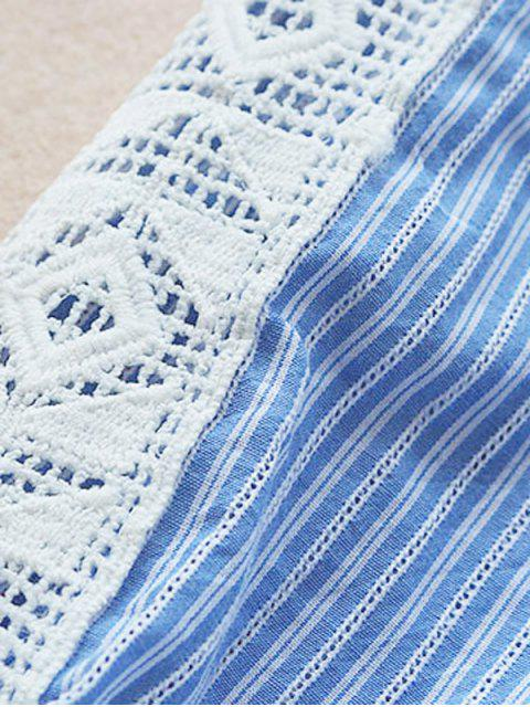fancy Notched Openwork Striped Blouse - BLUE STRIPE ONE SIZE Mobile