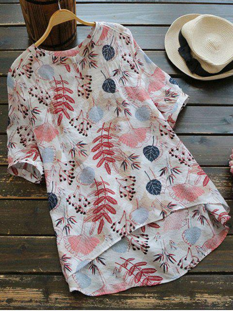 shops Leaves Print High Low Blouse - MULTI ONE SIZE Mobile