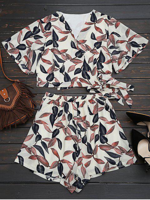Blätter drucken bauchfreies gewicktes Top und hohe Taille gefütterte Shorts - Beige (Weis) M Mobile
