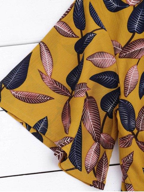 Top croppé imprimé feuilles + Shorts doublé à taille haute - Jaune L Mobile