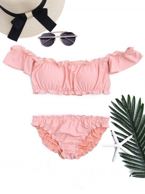 women Ruffled Off Shoulder Ruched Bathing Suit - PINK M Mobile