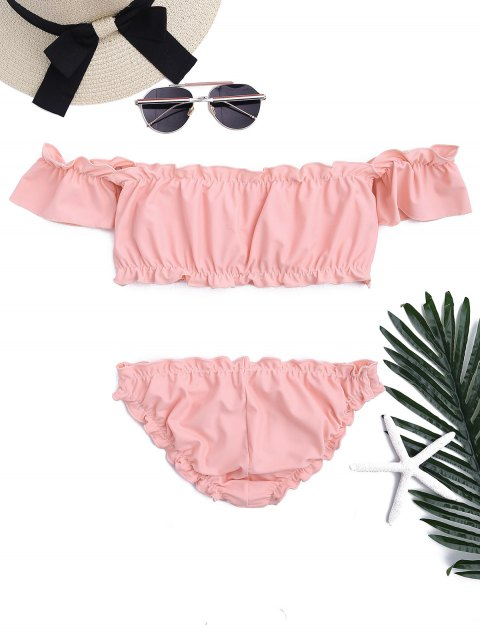 women's Ruffled Off Shoulder Ruched Bathing Suit - PINK S Mobile