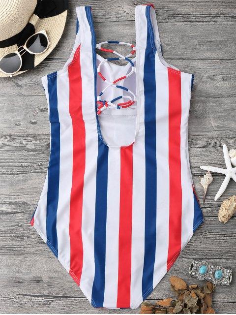 Maillot de bain lacés et à rayures - Bleu et Rouge S Mobile