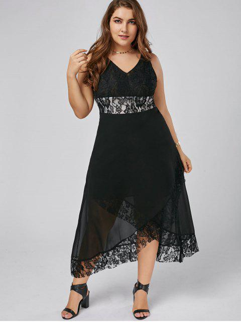 fashion Plus Size Lace Trim Tulip Maxi Dress - BLACK XL Mobile