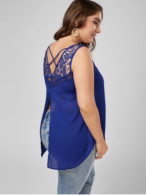 fancy Lace Trim Plus Size Lattice High Low Tank - BLUE XL Mobile