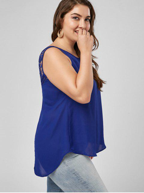 buy Lace Trim Plus Size Lattice High Low Tank - BLUE 5XL Mobile