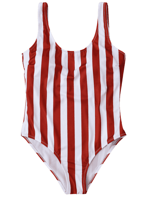 outfit Striped Shaping Padded One Piece Swimsuit - RED WITH WHITE L Mobile