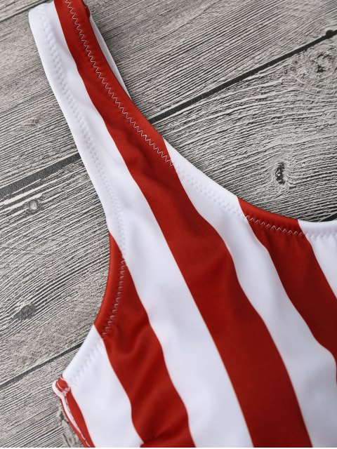 shop Striped Shaping Padded One Piece Swimsuit - RED WITH WHITE S Mobile