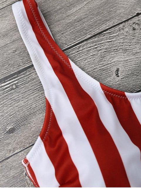 Maillot de Bain Une Pièce à Rayures Formé Rembourré - Rouge et Blanc S Mobile