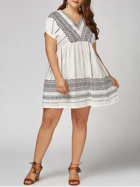 Vestido de cuello en V de Bohemia - Blanco 4XL Mobile