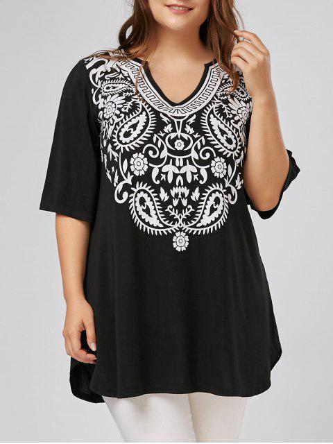 V Neck Impreso Túnica Plus Size - Negro 2XL Mobile