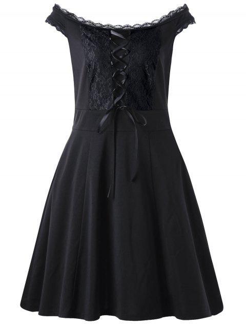 shop Lace Up Plus Size Mini Dress - BLACK 4XL Mobile