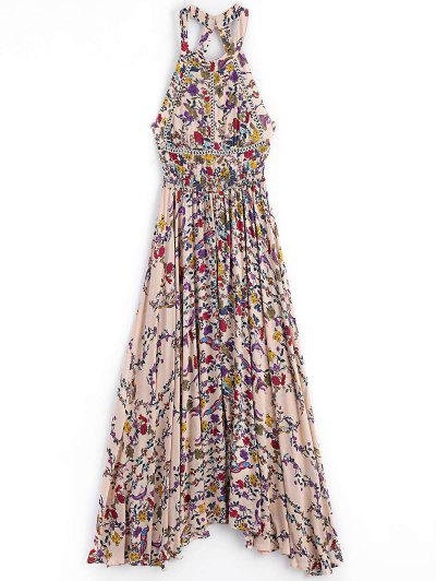 Floral Slit Cut Out Maxi Dress - Floral L