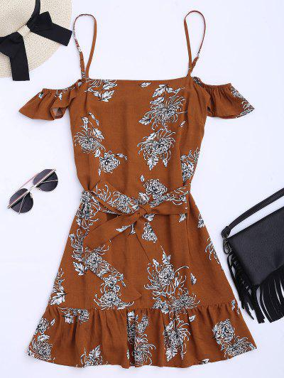 Floral Print Ruffled Belted Cami Dress - Floral L