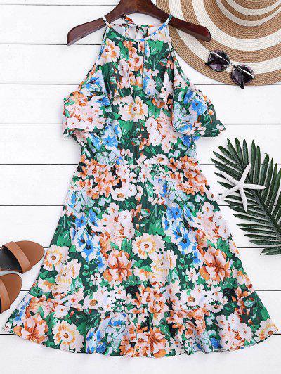 High Neck Ruffles Floral A-Line Dress - Floral M