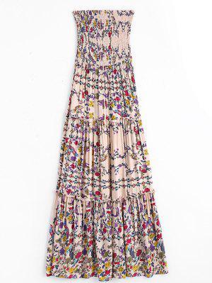 Vestido De Tubo De Bata Floral Con Volantes - Floral L